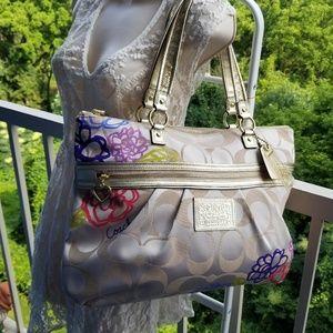 Coach Poppy Gold Flower Shoulder Bag